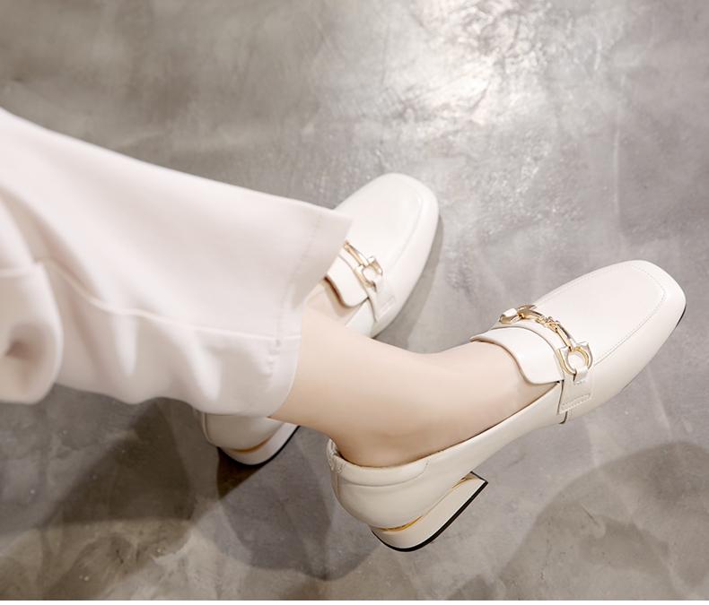 真皮包鞋女新款夏季中跟方头粗跟平底女鞋百搭春秋款乐福鞋女详细照片