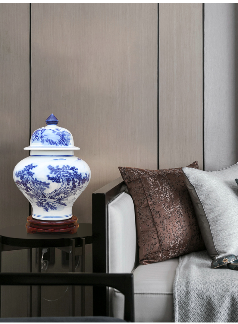 Jingdezhen blue and white porcelain jar furnishing articles landscape decorations with cover storage tank sitting room tea pot of new Chinese style decoration