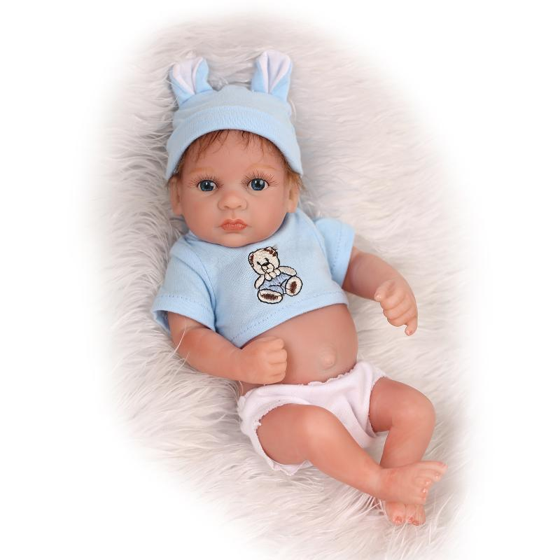 "11/"" Handmade Reborn Newborn Mini Baby Doll Full Soft Silicone Vinyl Bath Boy Toy"