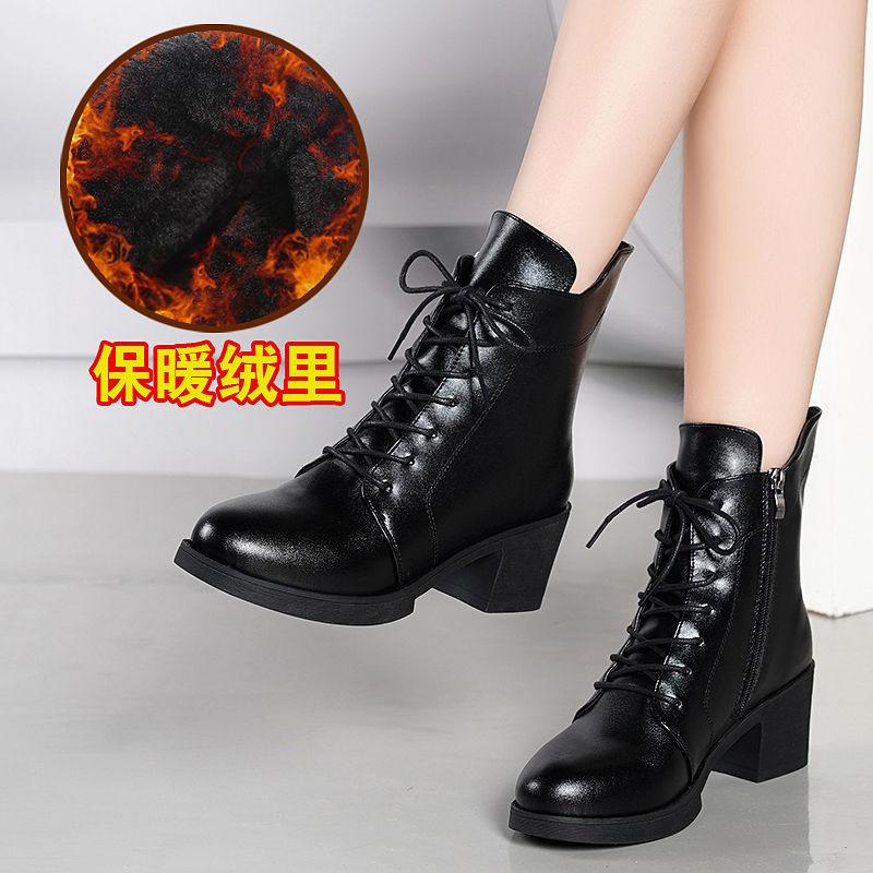 马丁靴女2019新款秋冬季高跟粗跟短靴女系带加绒皮面鞋瘦瘦棉靴子