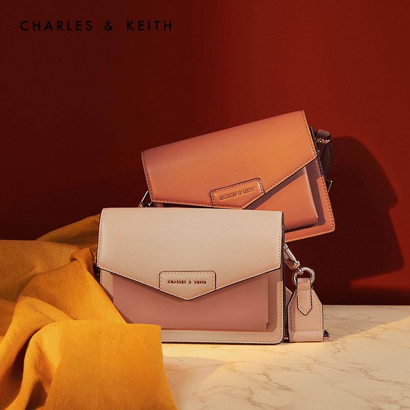 CHARLES&KEITH 信封包 CK2-80680780-1粉蜡色女士翻盖邮差单肩包