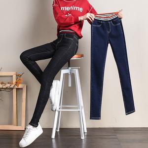 柏草姿美加绒牛仔裤女高腰冬季新加厚松紧腰牛仔铅笔裤松紧腰长裤