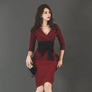 【高档女装】名媛新款拼色连衣裙气质修身连衣裙1751