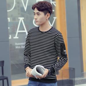 实拍2018秋季新款个性男装条纹宽松卫衣韩版长袖套头