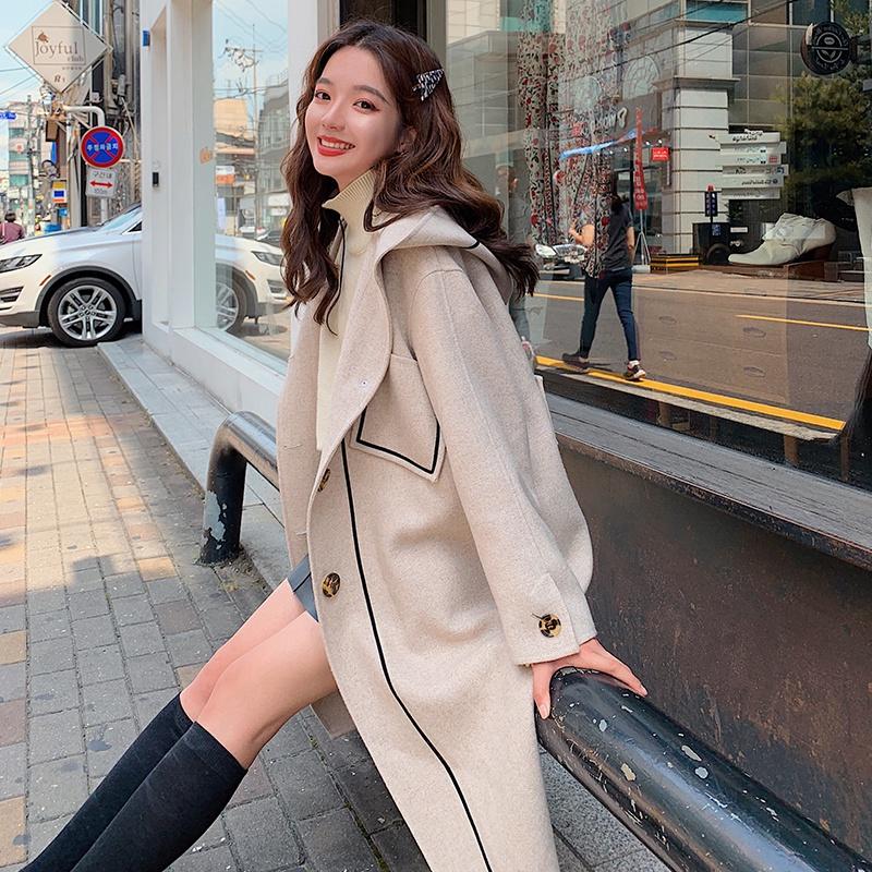 Áo khoác len nữ dài phần 2019 mùa thu đông mới Học sinh lỏng lẻo Hàn Quốc Áo khoác len màu be phong cách Hepburn - Áo khoác ngắn