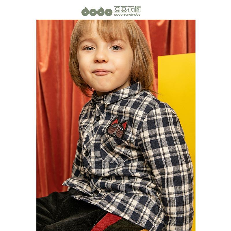 豆豆衣橱男小童加绒加厚衬衫衬衣宝宝冬季DM200494DC
