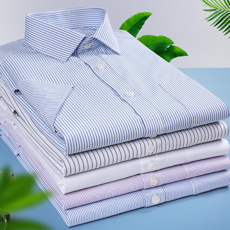 新款夏季商务职业工装半袖白纯色男条纹加大码定制短袖衬衫绣logo
