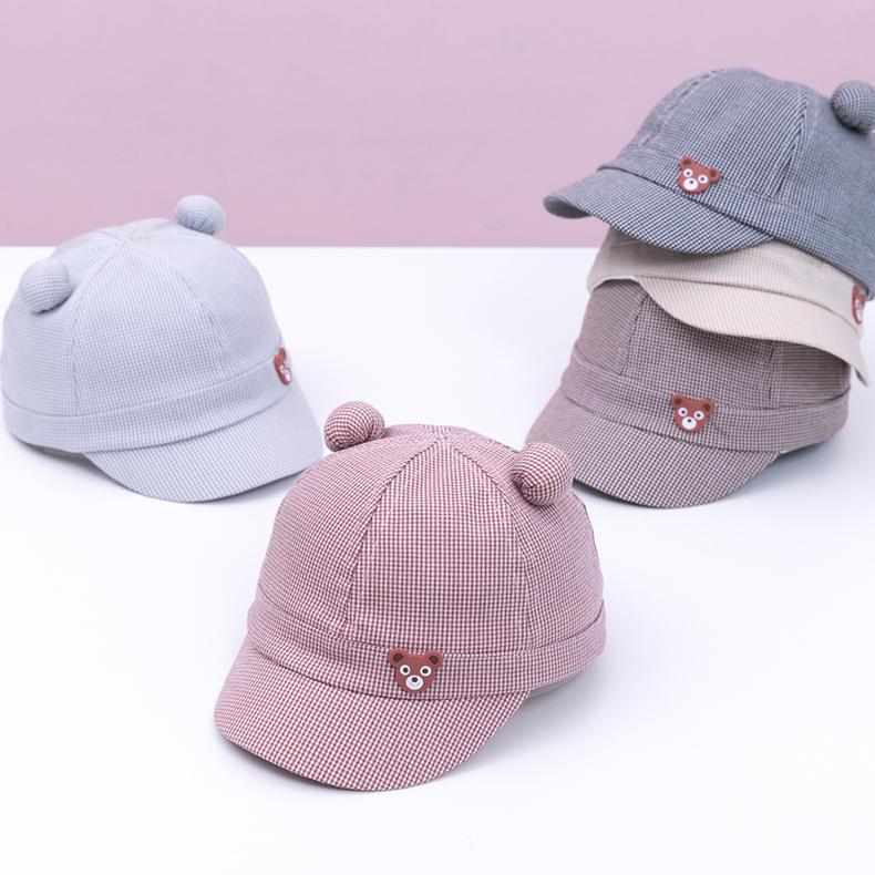宝宝帽子春款小熊鸭舌帽1-2-3岁女童遮阳帽太阳帽纯棉男童棒球帽