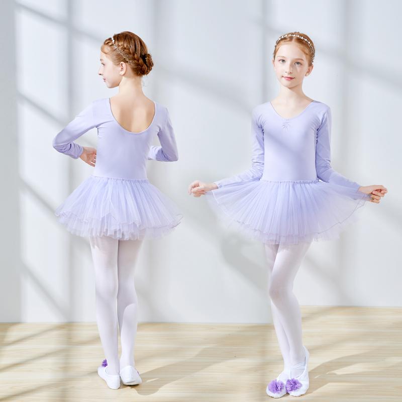 儿童舞蹈服长袖练功服跳芭蕾舞裙子