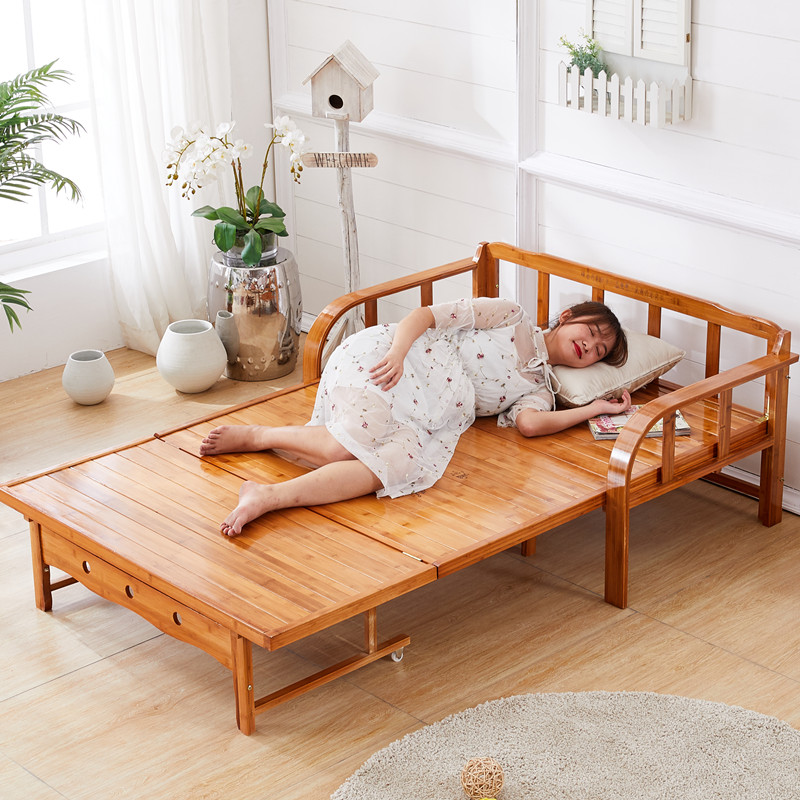 可折叠床竹床单人床沙发床简易实木家用凉床双人午休午睡竹子两用