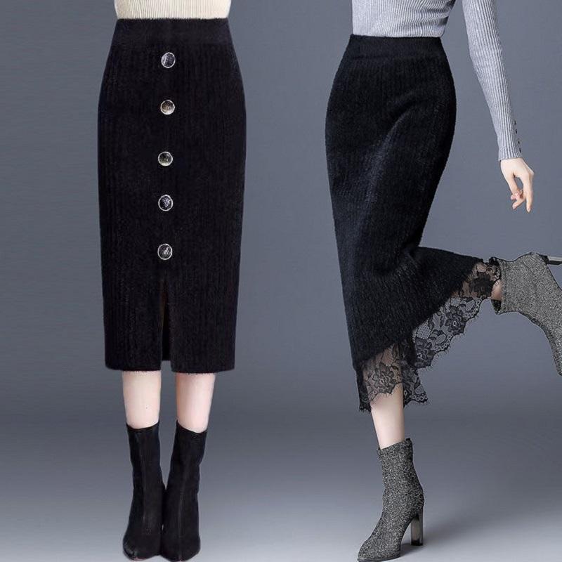 加厚仿水貂绒半身裙女秋冬中长款