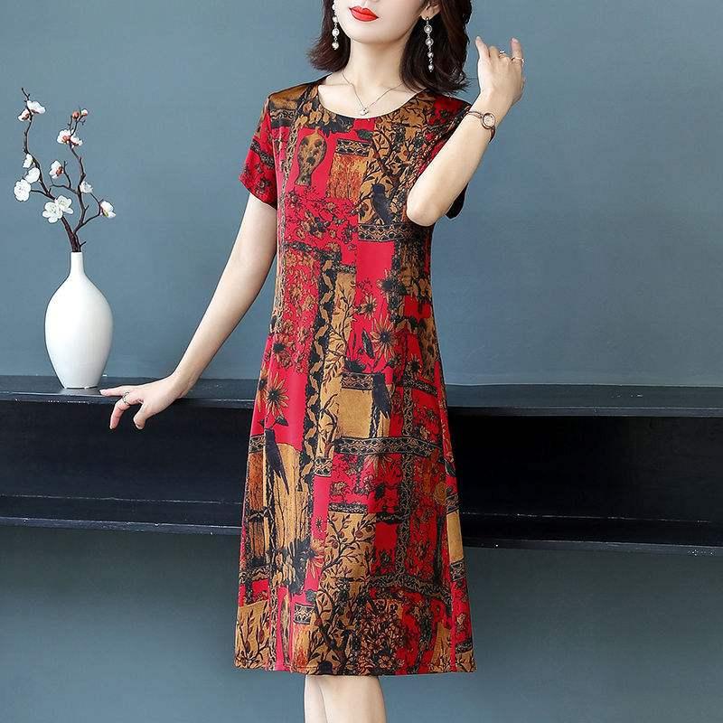 帕米洛2020夏季新款冰丝印花连衣裙中长款冰丝时尚妈妈装裙子女