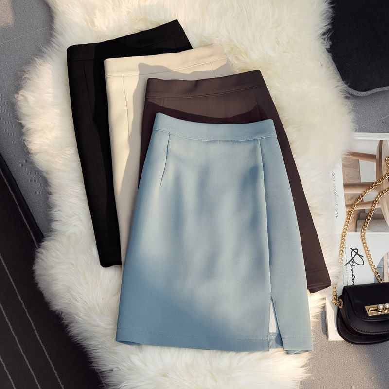 2021夏季新款高腰显瘦开叉半身裙