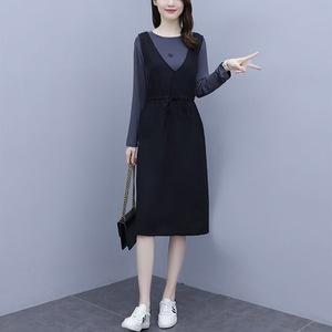 2021春季韩版中长款宽松显瘦两件套背带裙子休闲大码连衣裙套装女