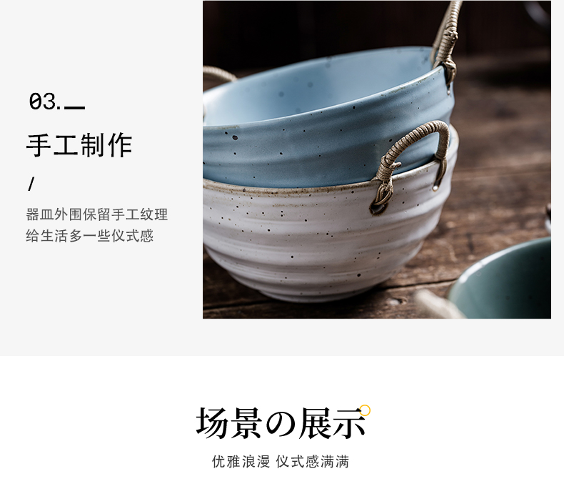 Japanese style restoring ancient ways cutlery set coarse pottery hand knitting handle the food bowl of contracted household individual feeder meal plate