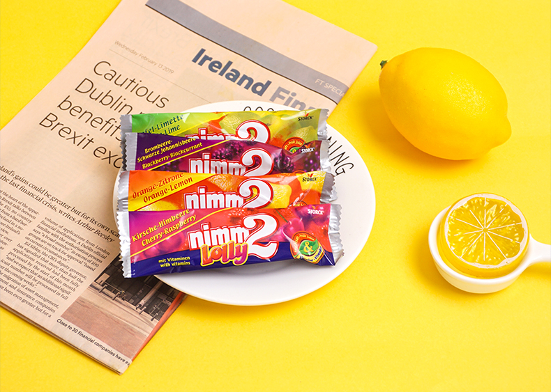 德国进口二宝糖二宝棒棒糖儿童维生素果汁糖果支装详细照片