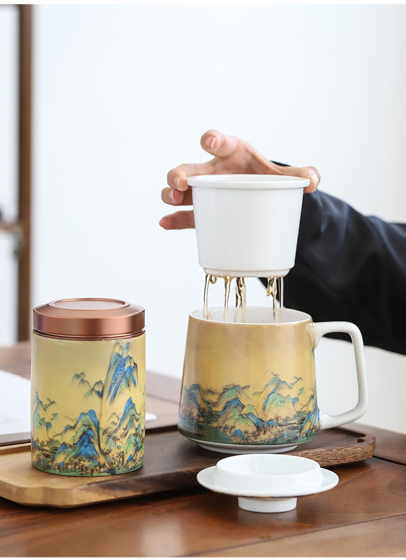 By mud Chinese wind office glass ceramic mugs li jiangshan boss make tea cup home with cover filter glass