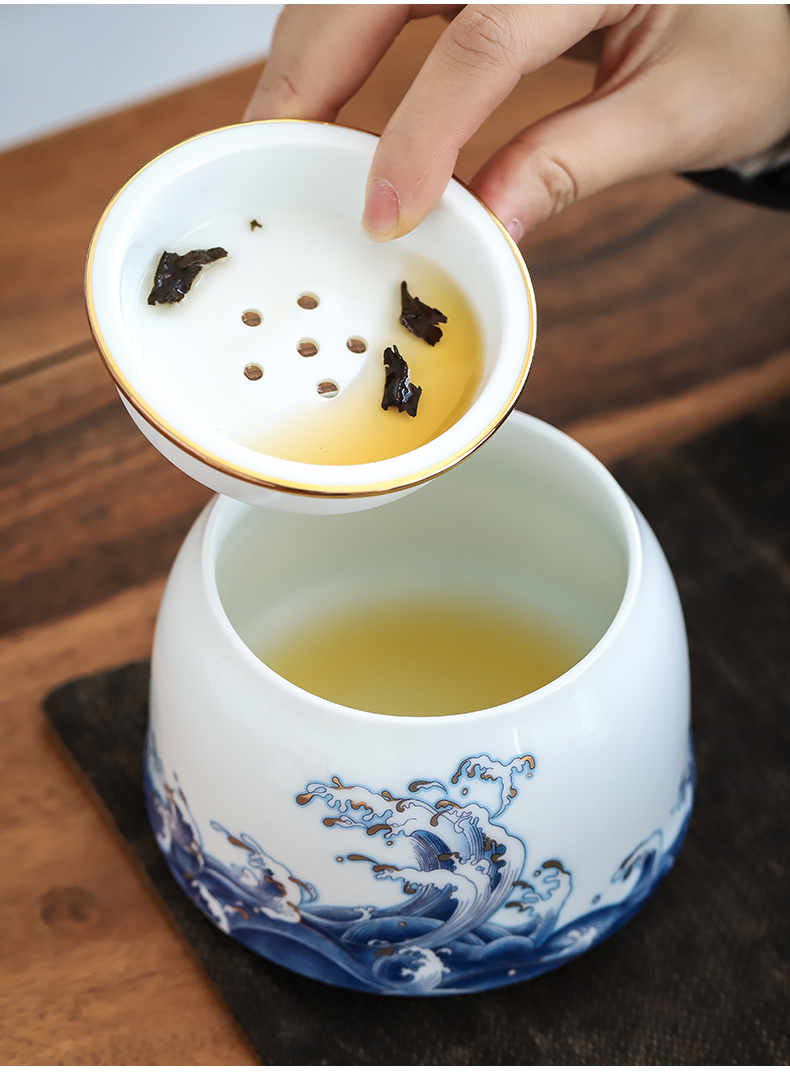 Colored enamel built by mud water Japanese household dry mercifully kung fu tea accessories in hot ceramic cylinder with cover cup for wash water jar