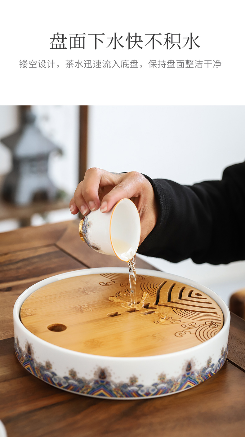 By mud colored enamel glass of black tea tea ware household ceramics filter teapot contracted tea tray cups little suit