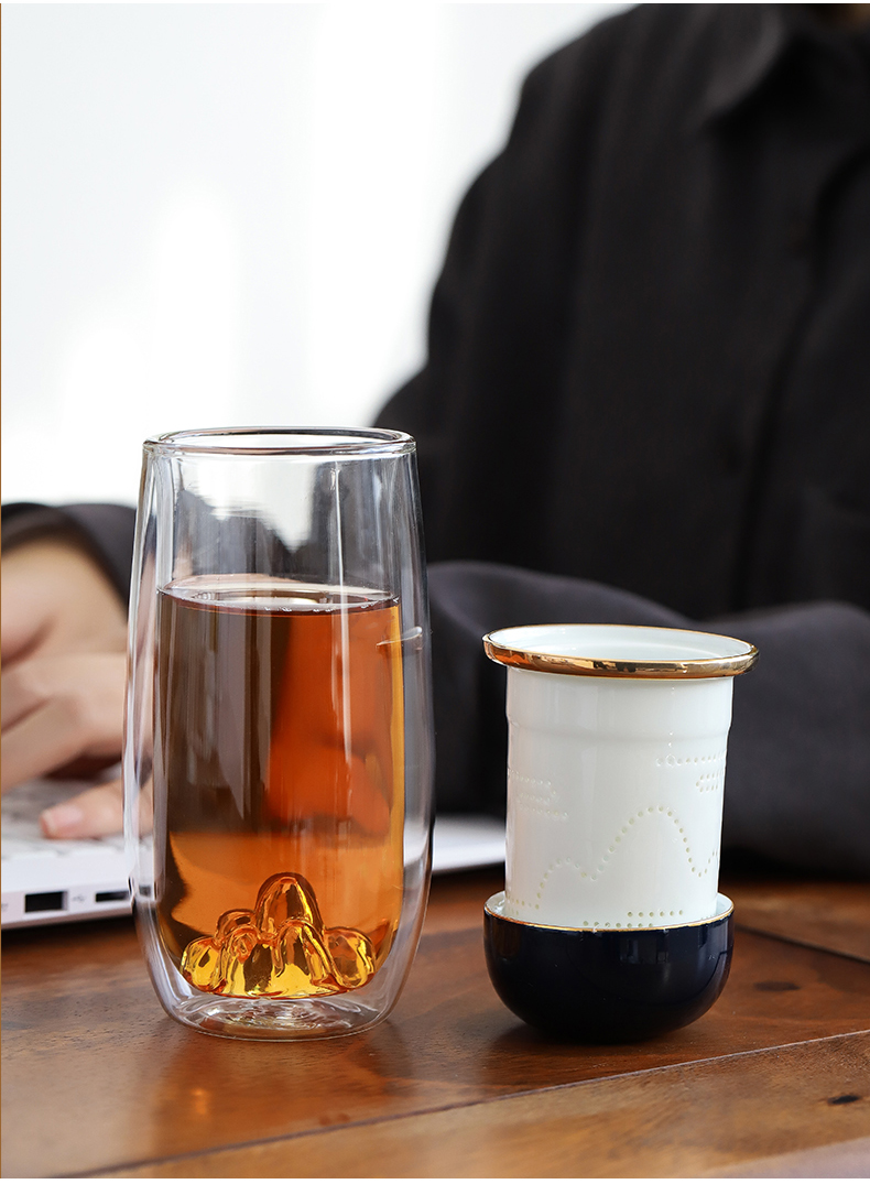 Make tea by mud double deck glass heat insulation cup home office green tea cup enamel - lined filtration separation tea cups