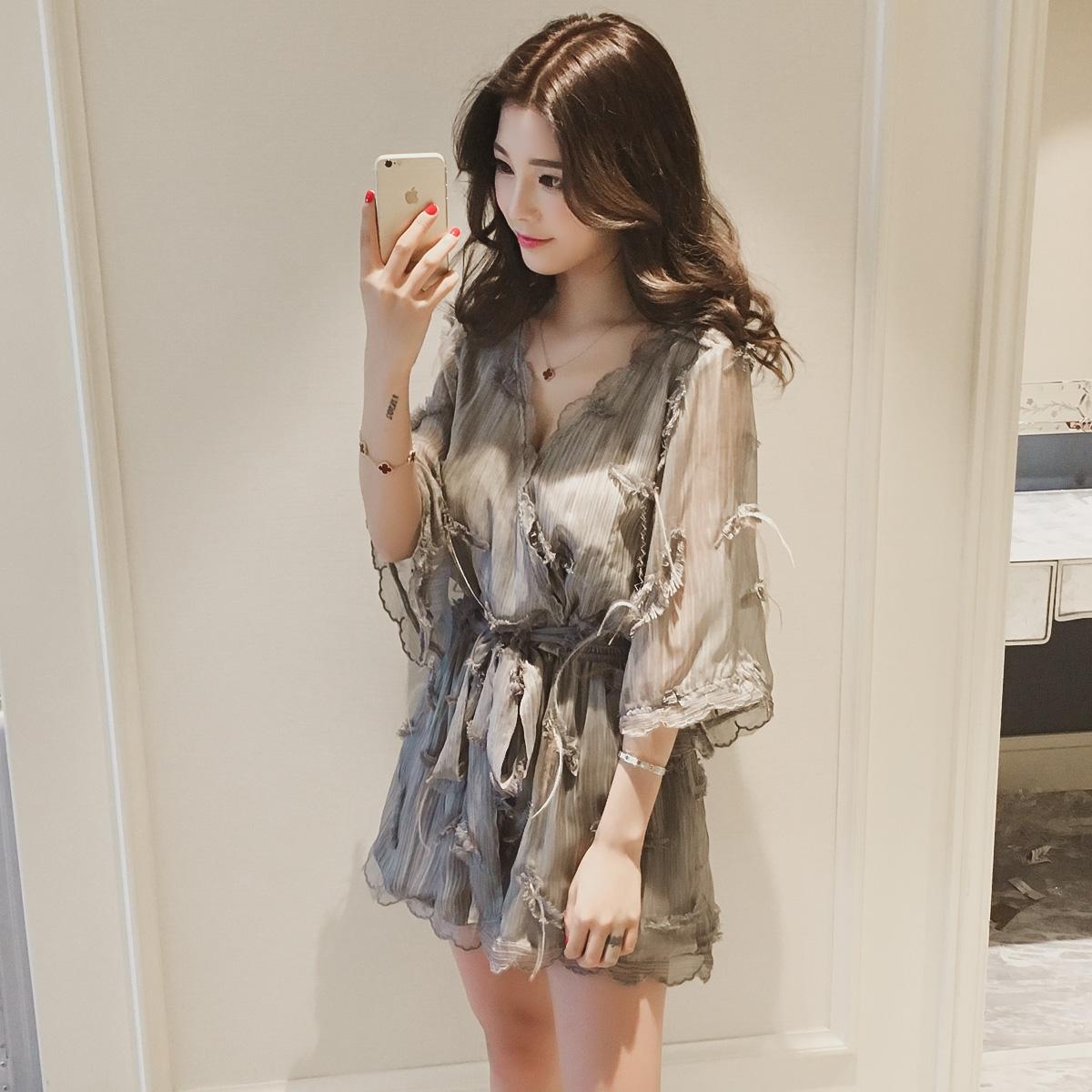韩国代购女装夏秋新款韩版小个子短裤连体衣阔腿套装雪纺显高时尚