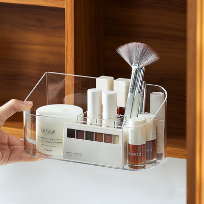 Nordic style dressing table mirror cabinet cosmetics storage box skin care products finishing box desktop brush port