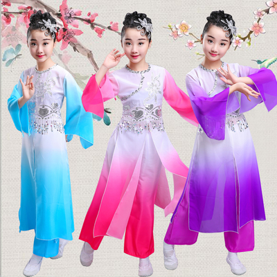 Classical dance performance female Chinese style modern dance costumes, umbrella dance, water sleeve dance, child girl.