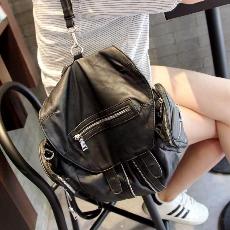 韩国代购明星同款真皮双肩包女AW大王包羊皮两用单肩背包旅行女包