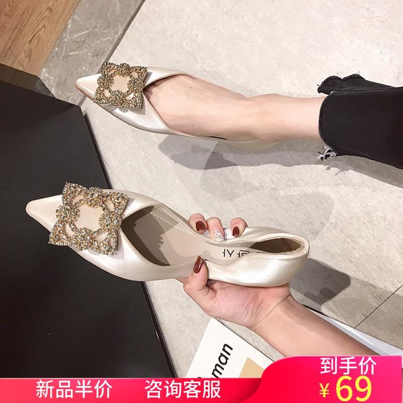 水钻风柔软尖头仙女女2019春秋新款单鞋时尚甜美通勤平底鞋平跟鞋