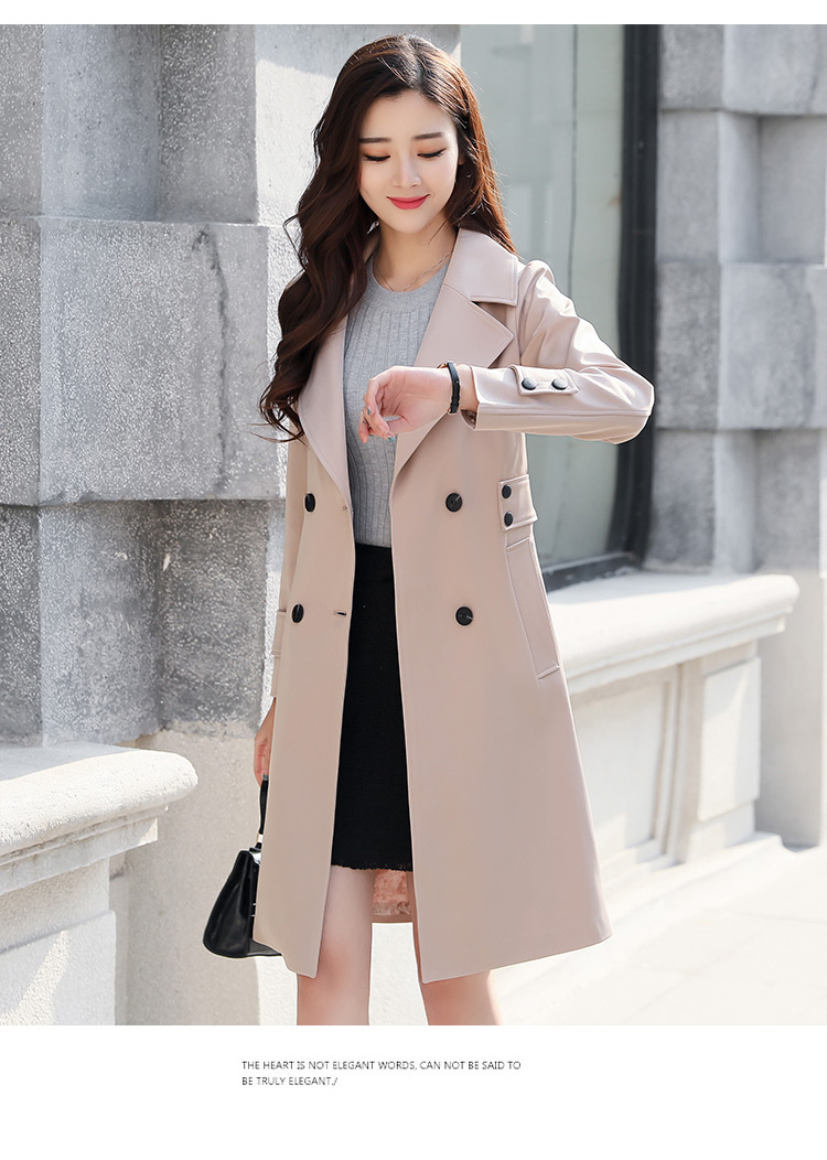 Details about Womens Korean Autumn 2019 New Slim Casual Fashion Double Breasted Trench Coat @c
