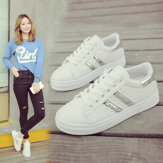 Small white shoes female summer student shoes lace muffin bottom shoes female Korean casual shoes thick bottom wild increase orgasm