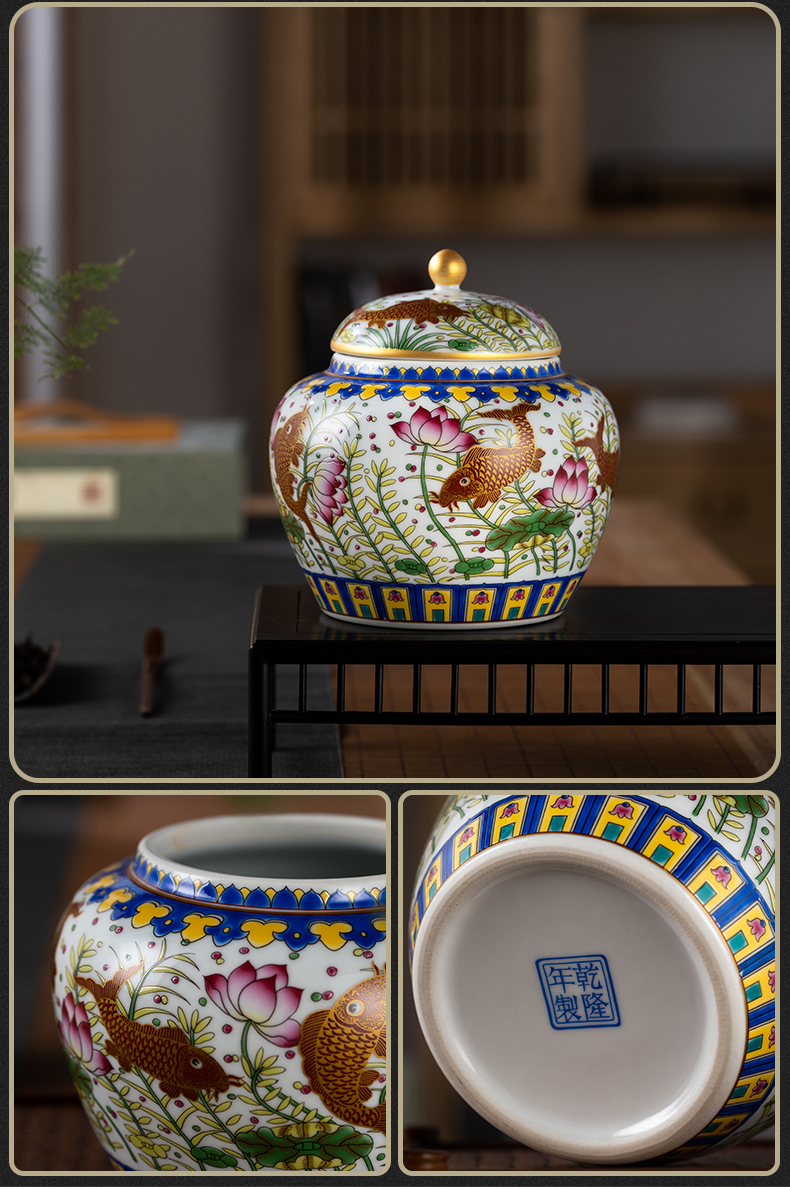 Jingdezhen ceramic tea pot Chinese checking household storage jar black tea pu - erh tea sealed container and POTS