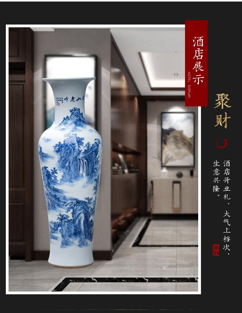 Jingdezhen ceramics glaze under the color blue and white porcelain vase jiangshan jiao sitting room more household handicraft furnishing articles
