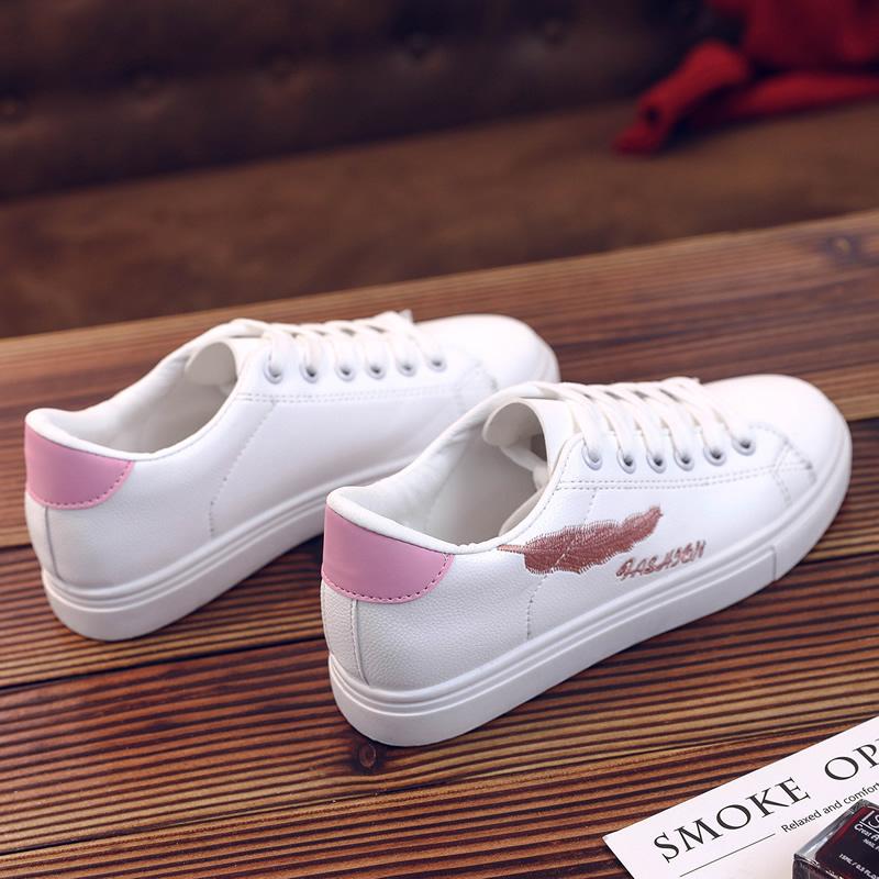 配2付鞋带经典刺绣百搭小白鞋