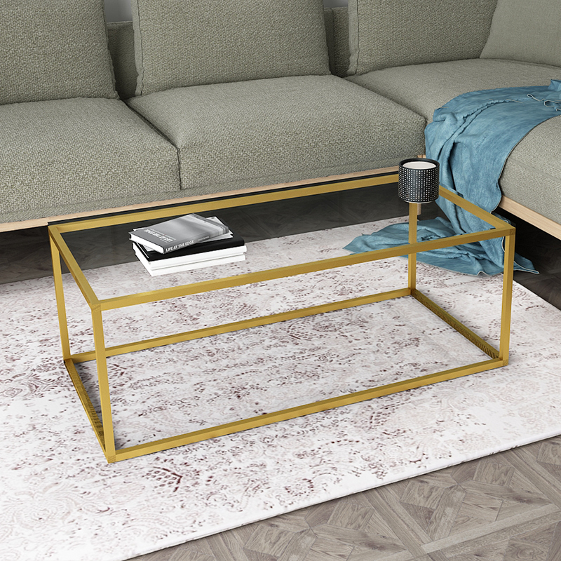 Sherwin Nordic Wrought Iron Rectangular Tempered Gl Coffee Table Living Room Small European Minimalist