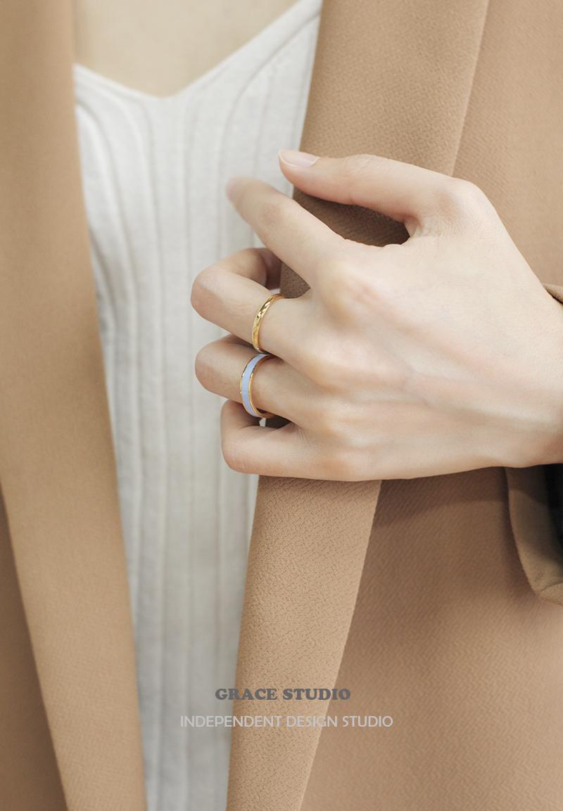 莫奈花园简约彩色珐琅戒指女法式时髦开口戒指质感戒指详细照片