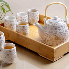 Send bamboo to Jingdezhen ceramic tea set, family complete set, modern simple teapot, 6 cups
