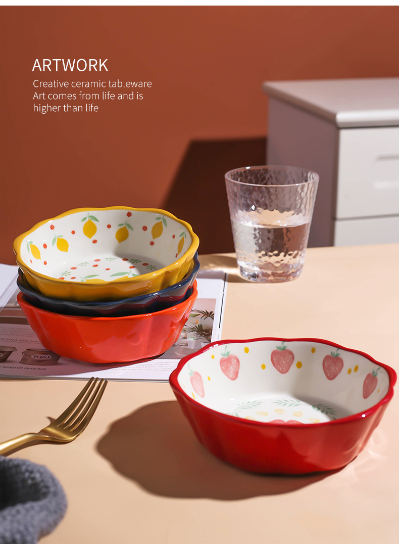 Ceramic bowl, lovely fruit salad bowl bowl ins strawberry Japanese household microwave oven tableware special bowl