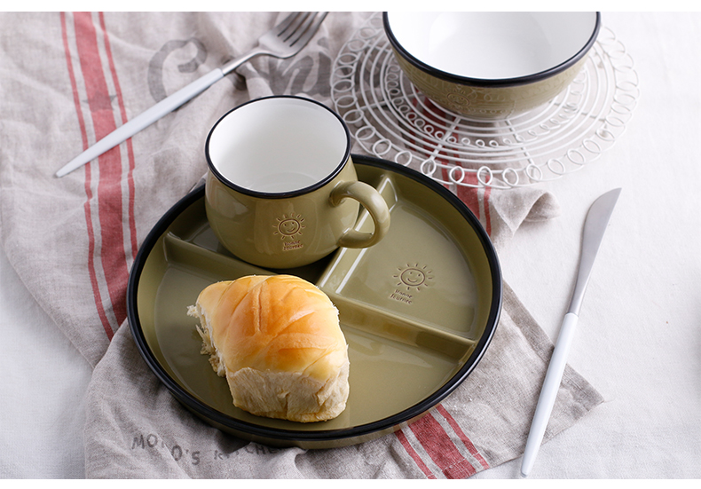 Nordic little wind creative ceramic tableware breakfast dishes household means dish platter rice rainbow such use mugs