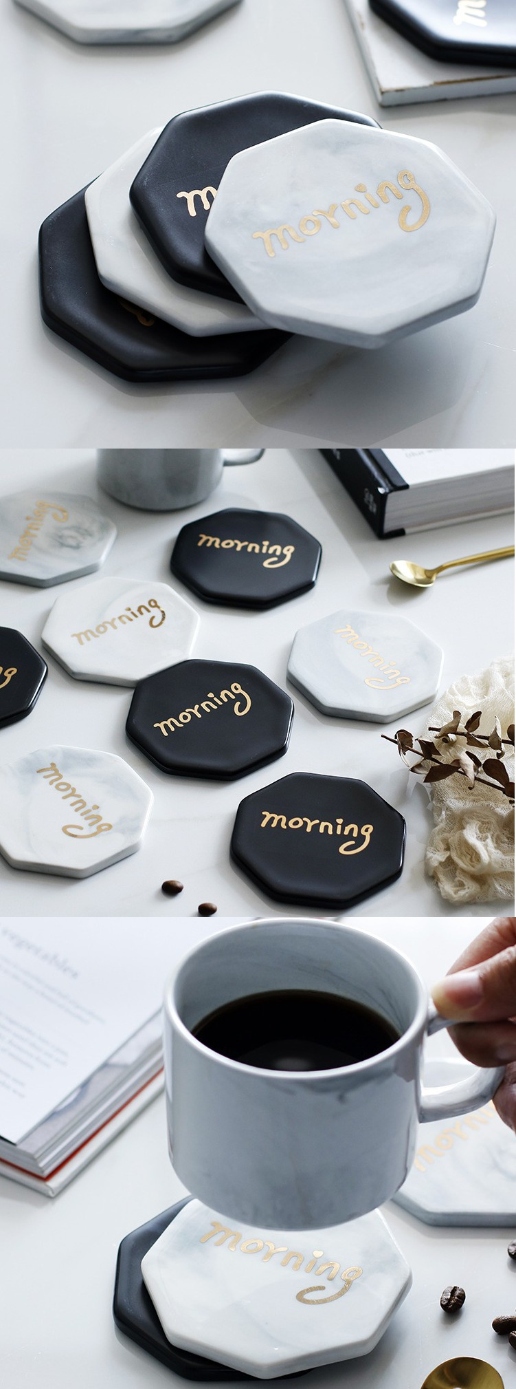 Nordic zakka wind European top - grade ceramic throwing gold cup mat creative hot insulation pad household cup cup mat