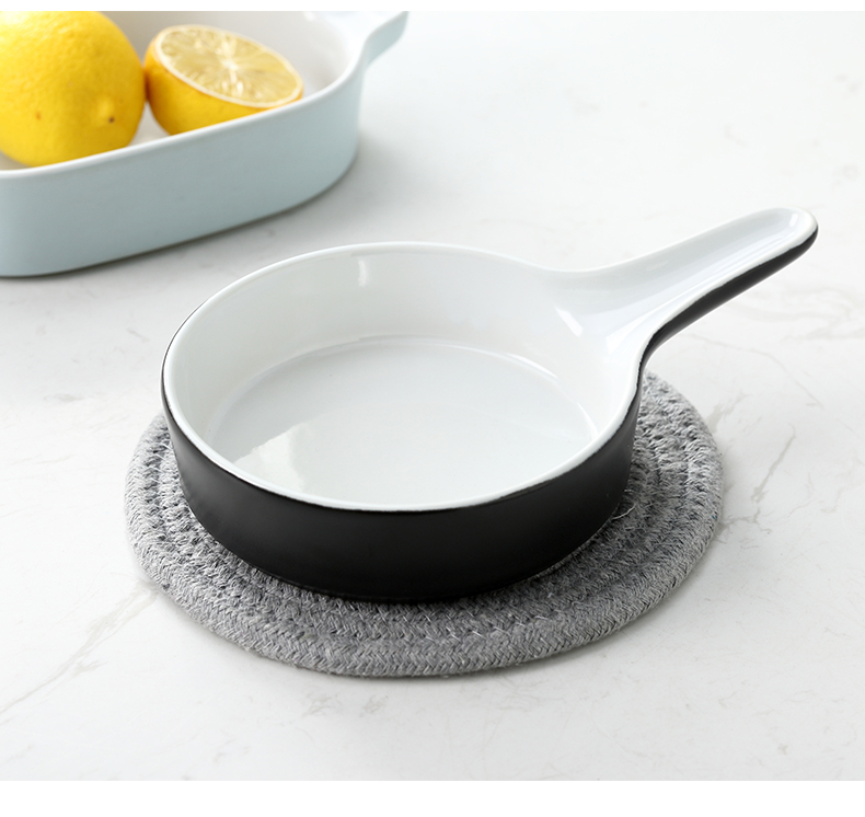 Nordic single put creative ceramic baking pan ears wearing SaPan baked FanPan household new flat