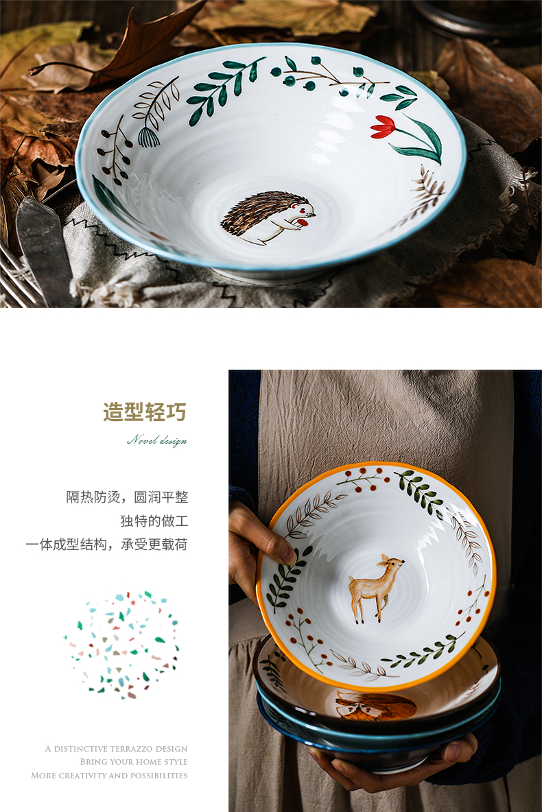 Nordic ins cartoon express ceramic animal, lovely fruit large bowl of beef noodles in soup bowl of sweet fruit salad bowl