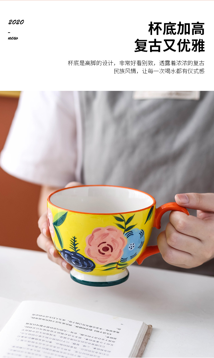 Europe type restoring ancient ways is breakfast cereal ceramic keller cup home picking large capacity cup coffee cup four seasons flower