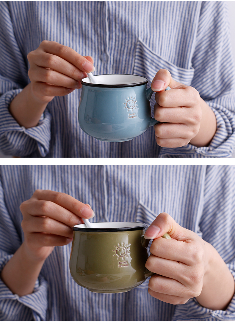 Northern wind creative lovely smiling face mark ceramic cup ultimately responds a cup of milk for breakfast cup of office coffee cup