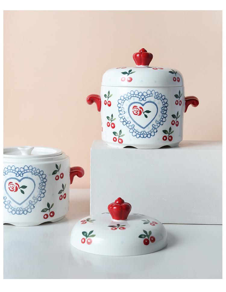 北欧陶瓷带盖家用小炖盅 隔水炖汤双盖双耳煲汤盅内胆炖罐蒸蛋碗