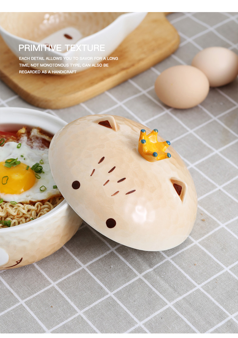 Japanese girls heart ceramic piggy mercifully rainbow such as bowl with cover and lovely student dormitory children eat bowl large soup bowl
