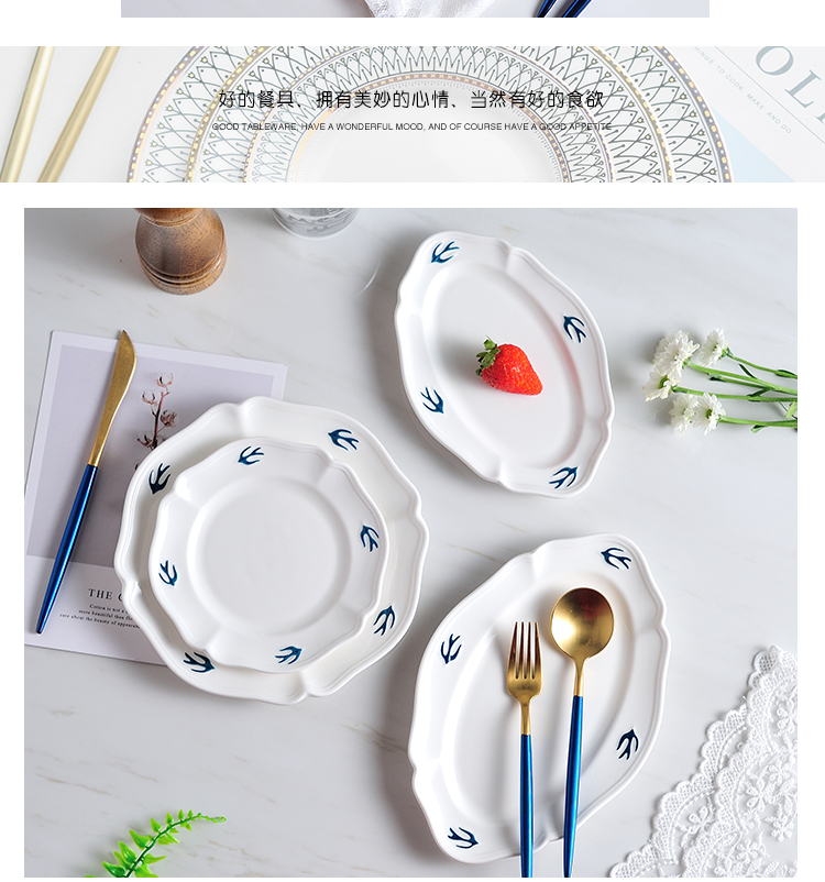 Japan 's tail single blue swallow disc white anaglyph hand - made ceramic plate dessert dish of bread plate oval tray is restoring ancient ways