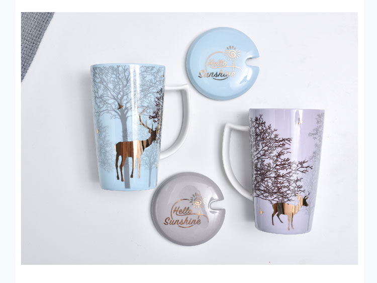 As Reindeer ceramic mugs ins pink girl heart cup northern picking cups of coffee cup with a spoon