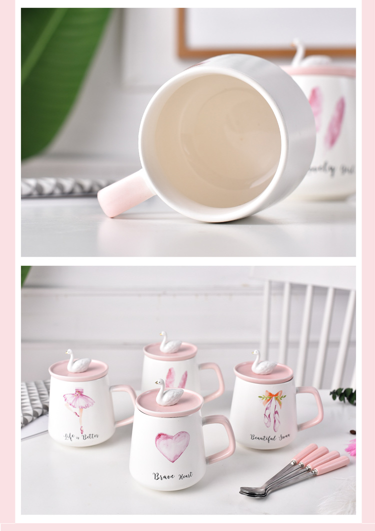 Creative swan girl a gift mugs pink heart ceramic keller cup coffee cup with cover the lid without holes
