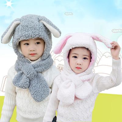 网红新款秋冬季男女儿童围巾亲子兔耳朵保暖护耳围脖一体套头帽子